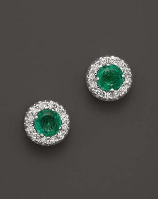 Bloomingdale's Emerald and Diamond Stud Earrings in 14K White Gold - 100% Exclusive