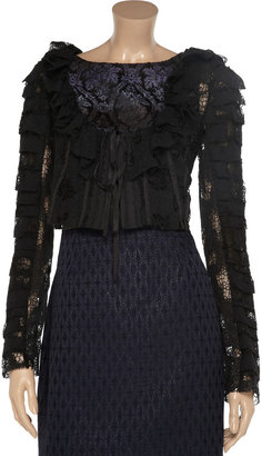 Nina Ricci Ruffled cotton-lace cropped jacket