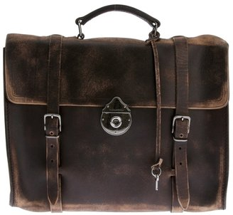 Dolce & Gabbana distressed leather briefcase