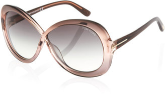 Tom Ford Shiny Acetate Crossover Sunglasses, Pink