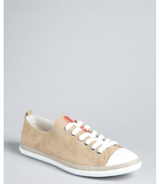 Prada Sport sand suede lace up sneakers