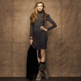 Rugby Ruched Turtleneck Dress
