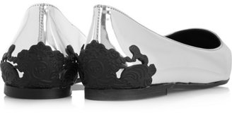 McQ by Alexander McQueen Metallic leather point-toe flats