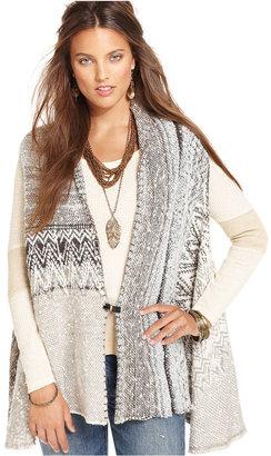 Free People Jacket, Sleeveless Printed Sweater Vest