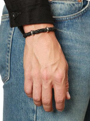 Nialaya Jewelry - Men's Black Braided Leather Bracelet With Silver Lock