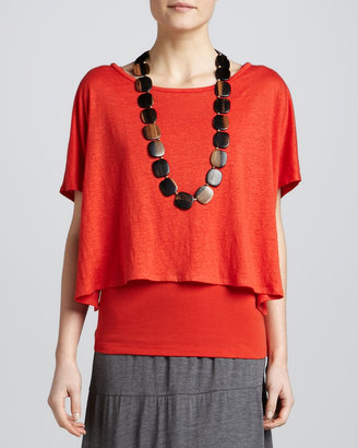 Eileen Fisher Linen Jersey Cropped Poncho Top