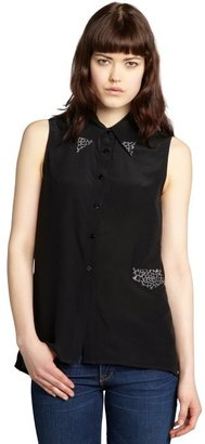Winter Kate black and ash splatter print silk sleevless pocket blouse