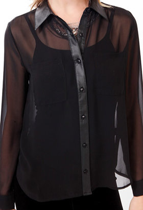Forever 21 Sheer Faux Leather Trimmed Button Up