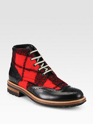 DSquared Leather and Wool Ankle Boots