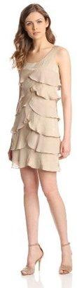 London Times Women's Shimmer Chiffon Shutter Tuck Dress, Champagne, 10