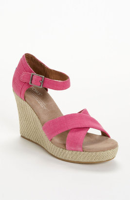 Toms Hemp Wedge Sandal Pink 10 M