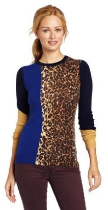Minnie Rose Women's 100% Cashmere Long Sleeve Crewneck Sweater with Print