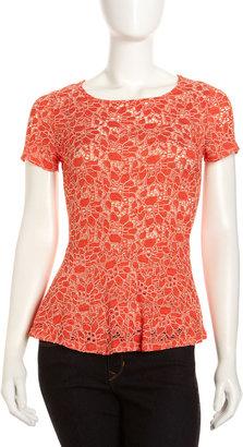 Velvet by Graham & Spencer Lace Peplum Top, Tropical Orange