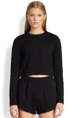 Alexander Wang Grid Jacquard Neoprene Cropped Top