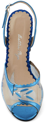 Bettie Page Out of the Metallic Blue Heel
