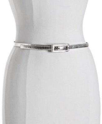 Calvin Klein silver snake stamped leather skinny belt