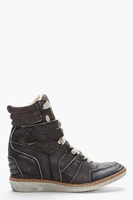 Diesel Black WAshed Leather Cabras Sneaker Wedges
