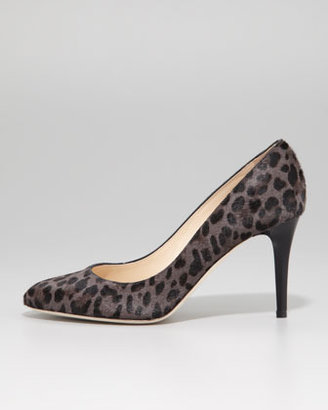 Jimmy Choo Victory Leopard-Print Calf Hair Pump, Smoke/Black
