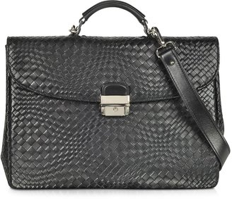 Forzieri Black Woven Leather Briefcase