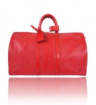 Louis Vuitton excellent (EX Castellan Red Epi Leather Keepall 45 Duffle Bag