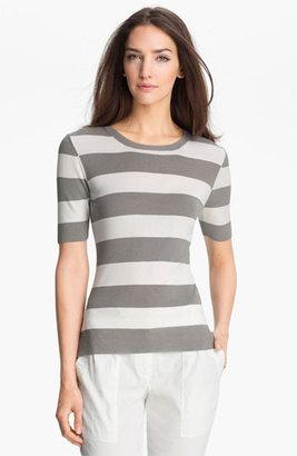 Theory 'Symon S.' Stripe Sweater Gray/ White Petite