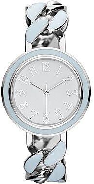 JCPenney Womens Pastel Silvertone Twist-Chain Bracelet Watch