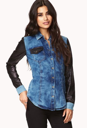 Forever 21 Faux Leather Trim Denim Shirt