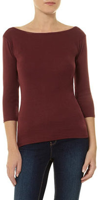 Dorothy Perkins Mulberry 3/4 sleeve slash top