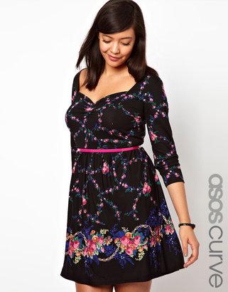 Asos Exclusive Skater Dress In Dark Floral