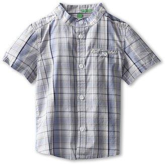 Benetton Kids - Boys' Mandarin Collar Woven (Toddler/Little Kids/Big Kids) (Blue/Navy/Beige/White) - Apparel