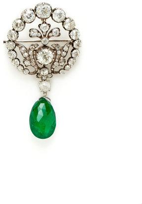 Estate Diamond & Removable Emerald Brooch