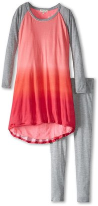 Luna Luna Copenhagen Ombre Soft Jersey Happy Lounge Set (Toddler/Little Kids/Big Kids) (Cerise) - Apparel