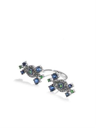 Ileana Makri Champagne diamond, tsavorite & white-gold ring