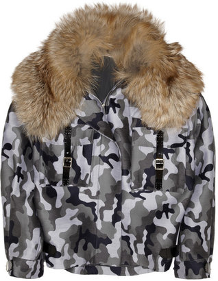 Christopher Kane Fox-collar wool-blend camouflage-jacquard parka