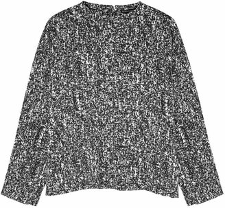 Eileen Fisher Black And White Printed Silk-blend Top