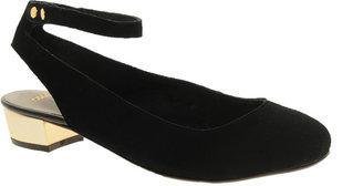Asos LAGUNA Suede Ballet Flats with Metallic Block Heel