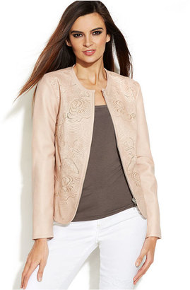 INC International Concepts Laser-Cut Faux-Leather Jacket