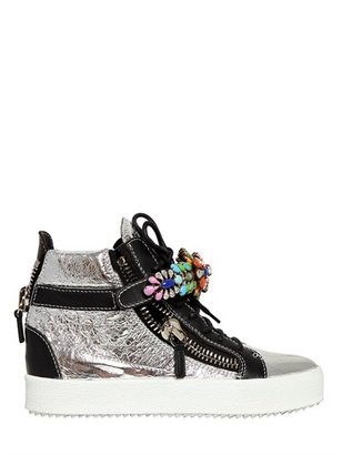 Giuseppe Zanotti 20mm Metallic Leather Jeweled Sneakers