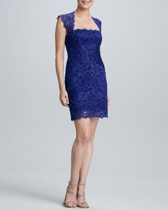 Nicole Miller Lace Open-Back Cocktail Dress