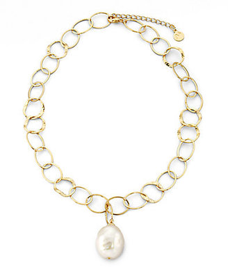 Majorica 22MM White Baroque Pearl Mixed-Link Pendant Necklace