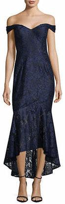 Xscape Evenings Off-The-Shoulder Flounce Lace Dress