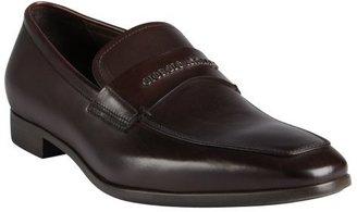 Giorgio Armani dark chocolate leather raised logo letter strapped loafers