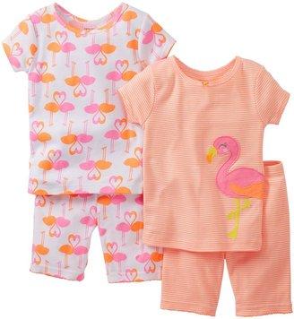 Carter's 4 Piece Cotton Short PJ Set (Baby) - Flamingo-6 Months
