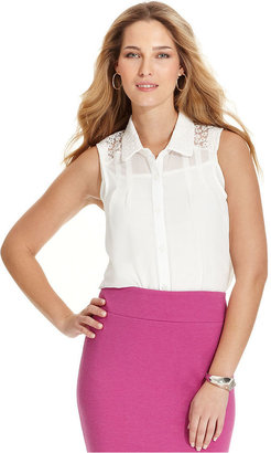Amy Byer Top, Sleeveless Floral Lace Blouse