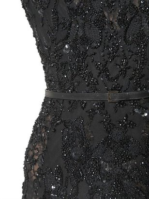 Elie Saab Silk Blend Crepe Cady Lace & Tulle Dress