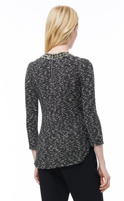 Rebecca Taylor 3/4 Sleeve Top With Embellished Neck