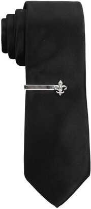 Apt. 9 Men's Solid Skinny Tie with Fleur de Lis Tie Bar