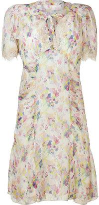 Anna Sui Cream/Pastel Bouquet Silk Dress