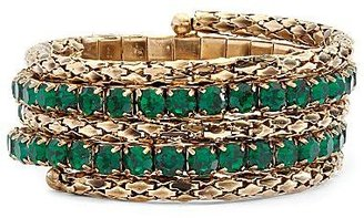 JCPenney Gold-Tone Green Crystal Coil Bracelet
