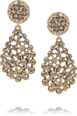 Oscar de la Renta Gold-plated crystal clip earrings